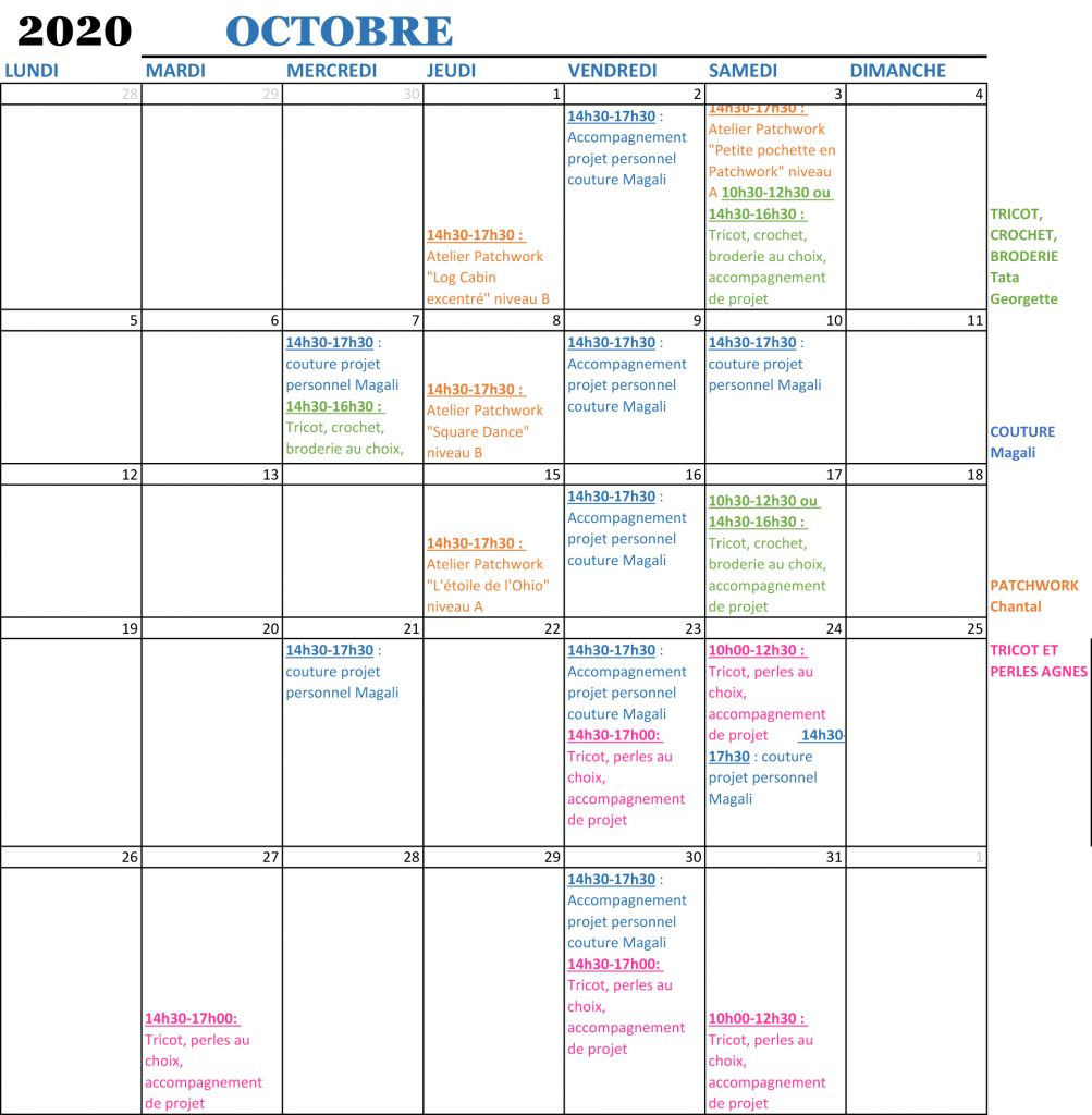 planning mensuele cours oct ok